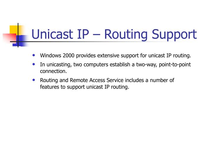 Unicast IP – Routing Support