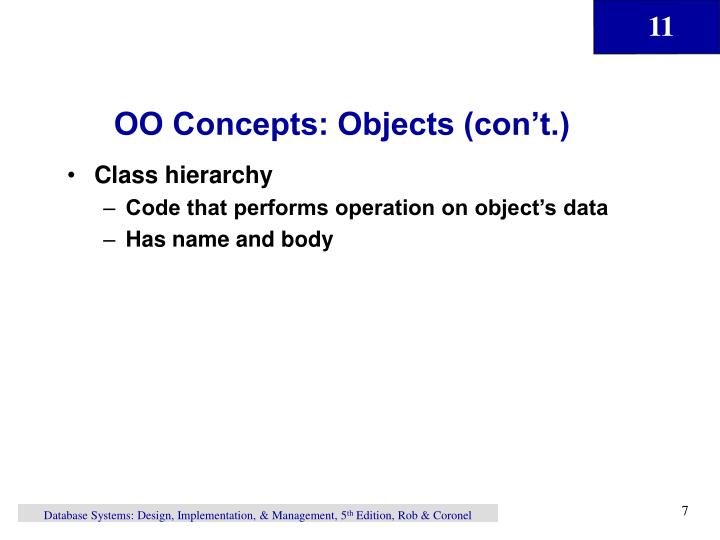 OO Concepts: Objects (con't.)