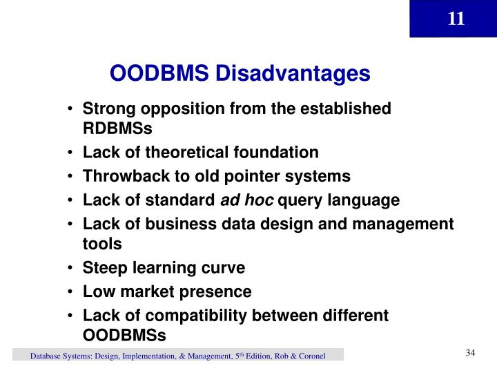 OODBMS Disadvantages