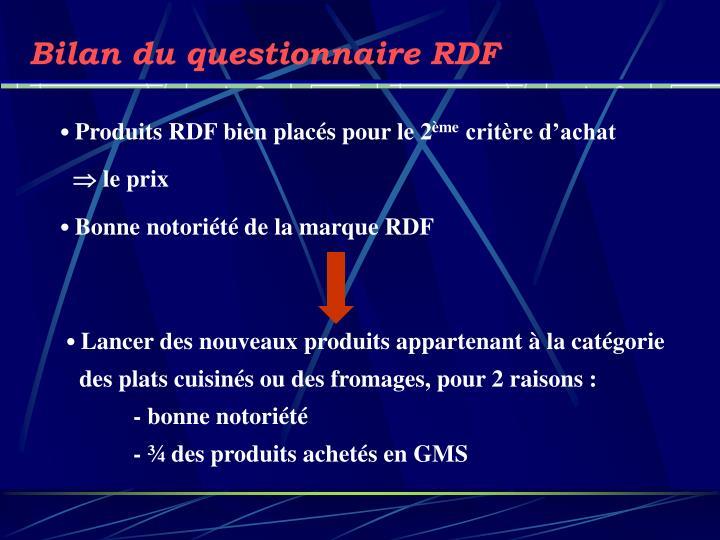 Bilan du questionnaire RDF