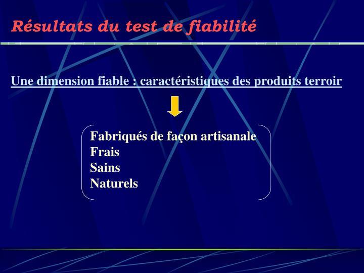 Résultats du test de fiabilité