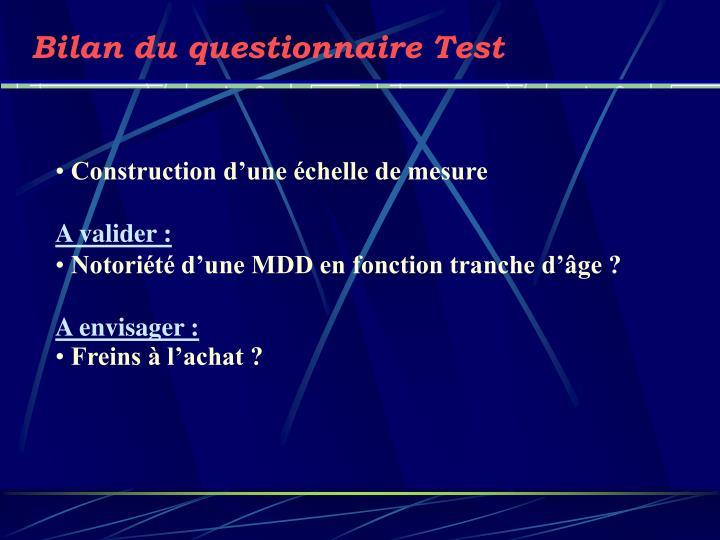 Bilan du questionnaire Test