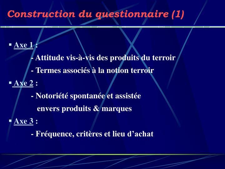 Construction du questionnaire (1)