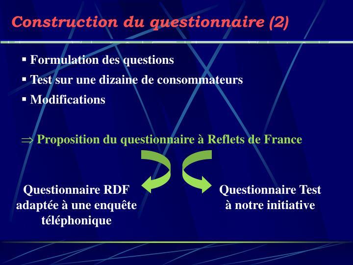 Construction du questionnaire (2)
