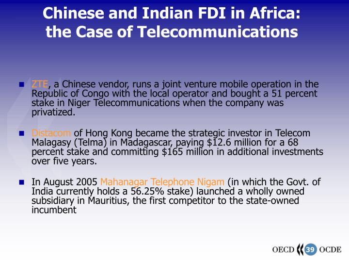 Chinese and Indian FDI in Africa: