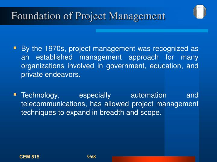 Foundation of Project Management