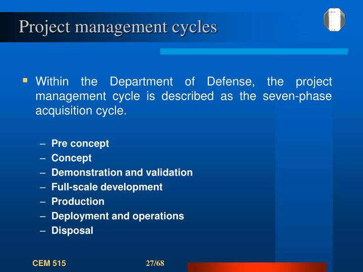 Project management cycles