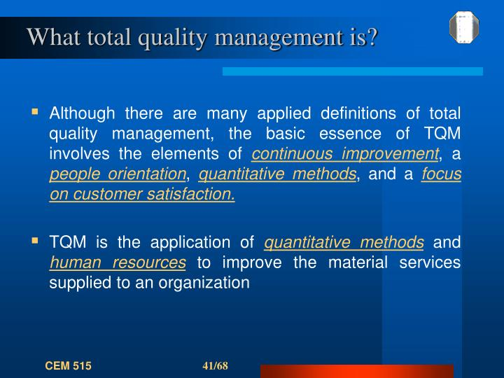 What total quality management is?