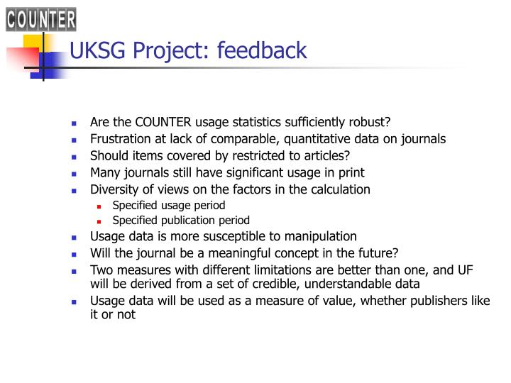 UKSG Project: feedback
