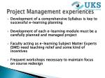 project management experiences