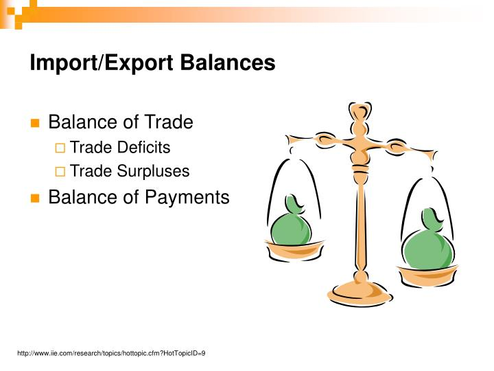 Import/Export Balances