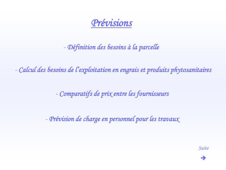 Prévisions