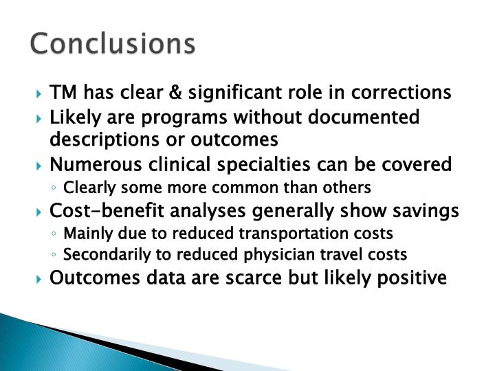TM has clear & significant role in corrections