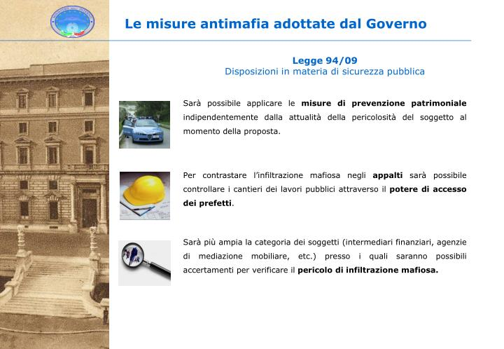 Le misure antimafia adottate dal Governo