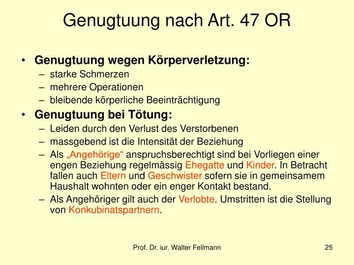 Genugtuung nach Art. 47 OR