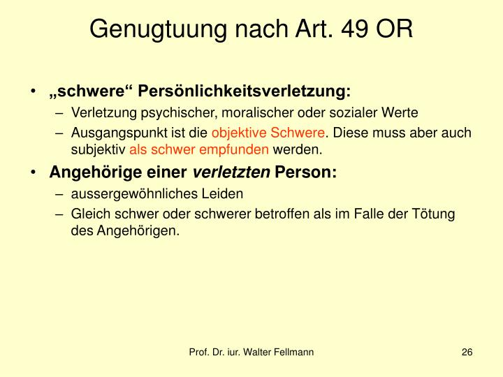 Genugtuung nach Art. 49 OR
