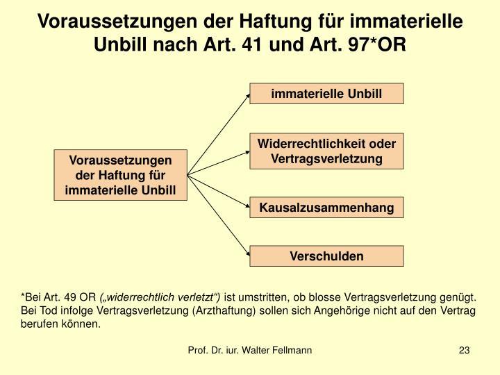 Voraussetzungen der Haftung für immaterielle Unbill nach Art. 41 und Art. 97