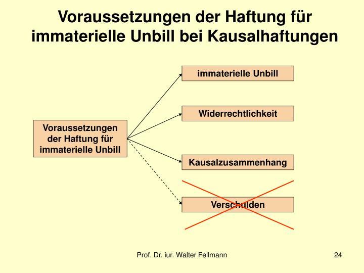 Voraussetzungen der Haftung für immaterielle Unbill