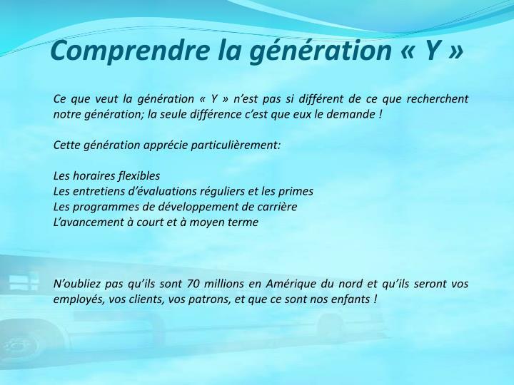 Comprendre la génération «Y»