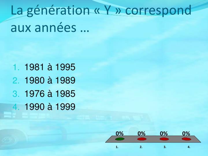 La génération «Y» correspond aux années …