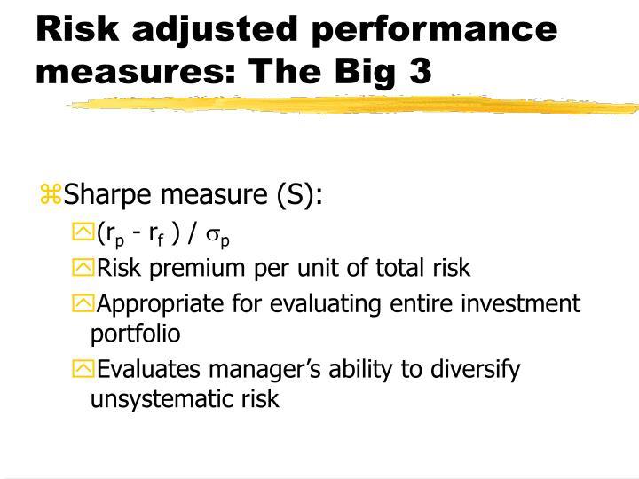 Risk adjusted performance measures: The Big 3