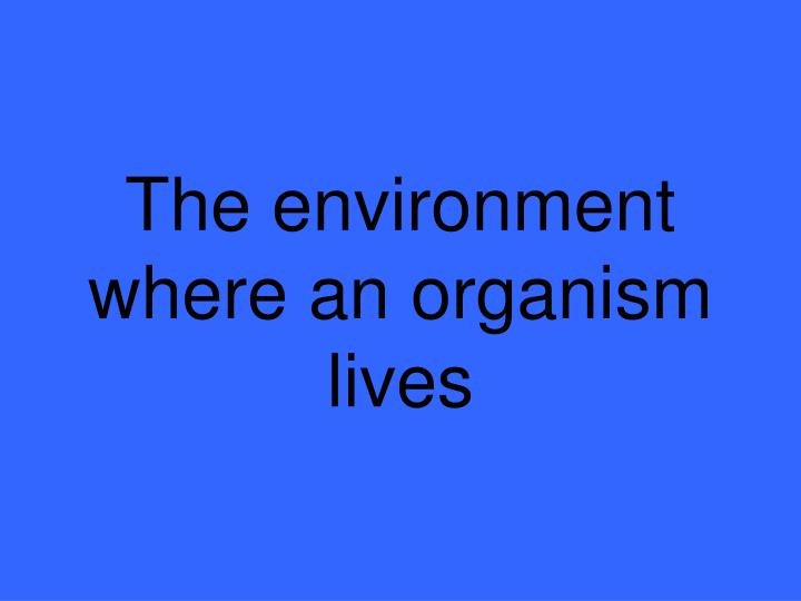 The environment where an organism lives