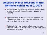 acoustic mirror neurons in the monkey kohler et al 2002