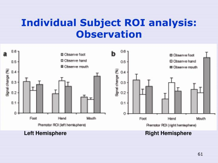 Individual Subject ROI analysis: Observation