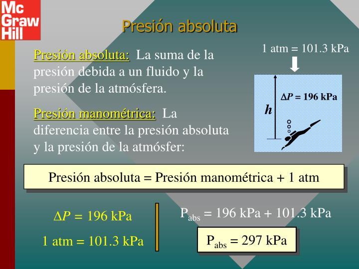 1 atm = 101.3 kPa