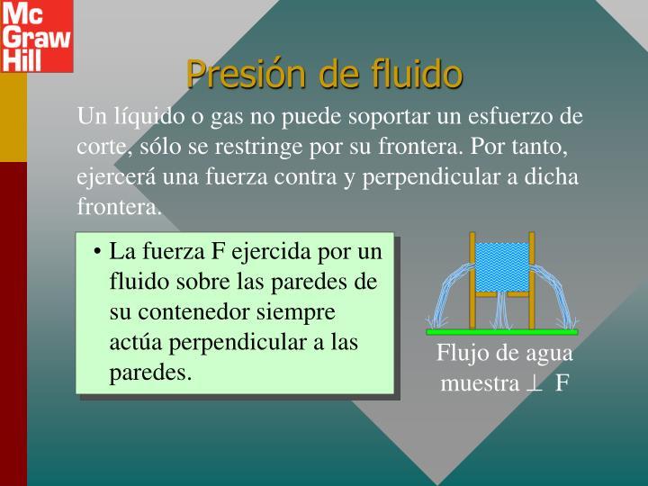 La fuerza F ejercida por un fluido sobre las paredes de su contenedor siempre actúa perpendicular a las paredes.