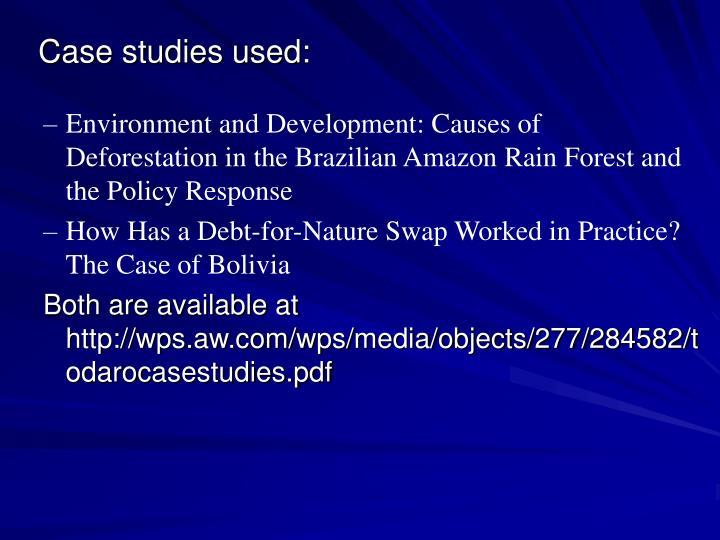 Case studies used: