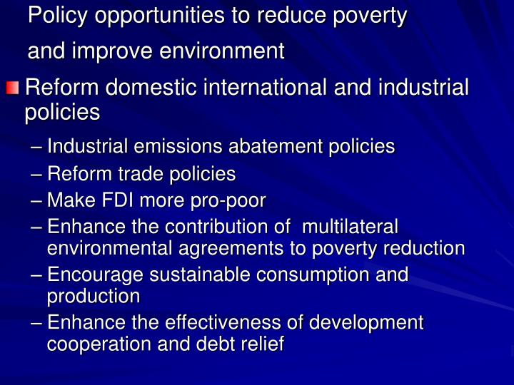 Policy opportunities to reduce poverty