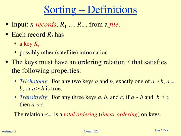 Sorting definitions