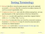 sorting terminology