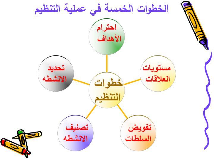 الخطوات الخمسة في عملية التنظيم