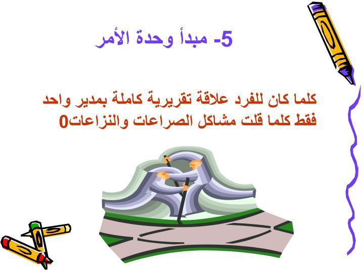 5- مبدأ وحدة الأمر