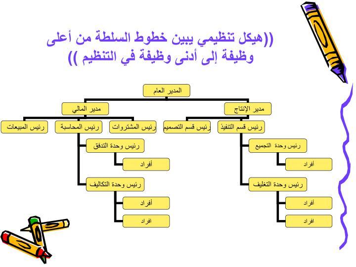 ((هيكل تنظيمي يبين خطوط السلطة من أعلى وظيفة إلى أدنى وظيفة في التنظيم ))