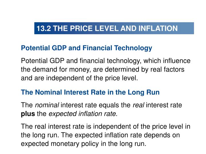13.2 THE PRICE LEVEL AND INFLATION