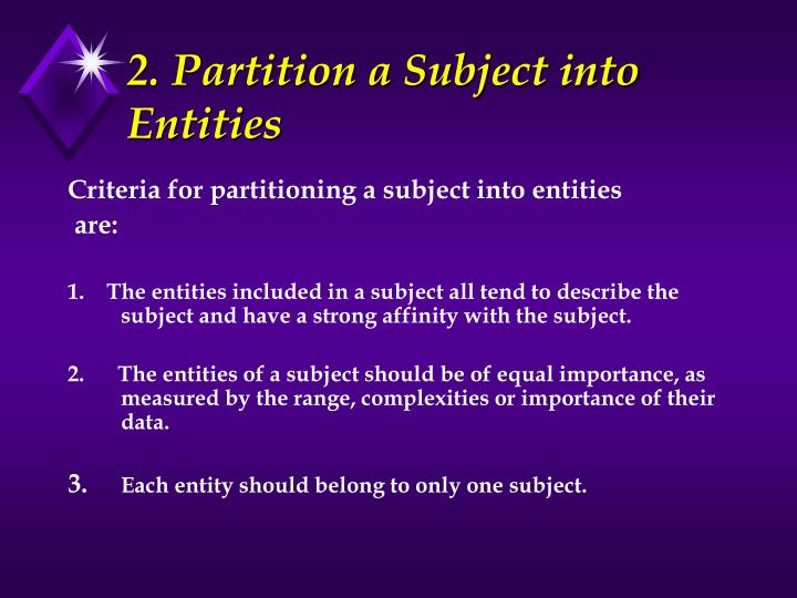 2. Partition a Subject into Entities