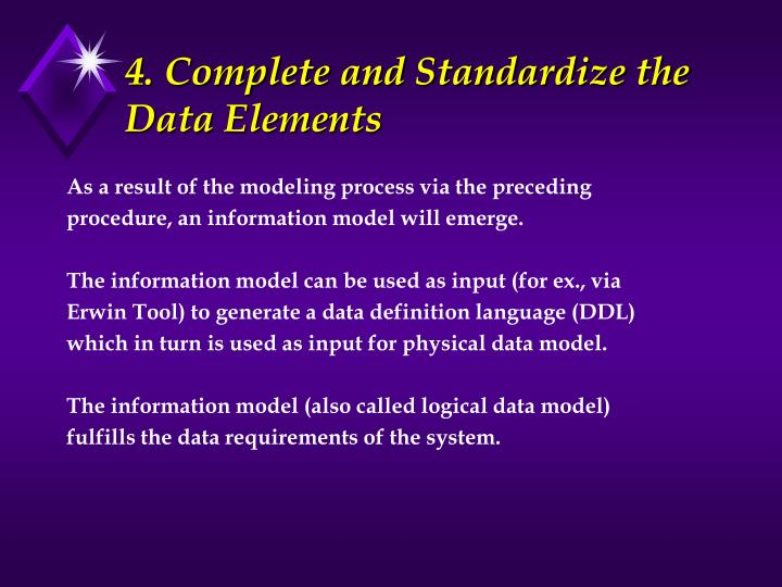 4. Complete and Standardize the Data Elements