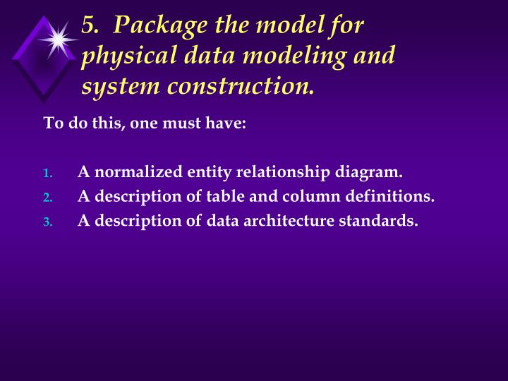 5.  Package the model for physical data modeling and system construction.