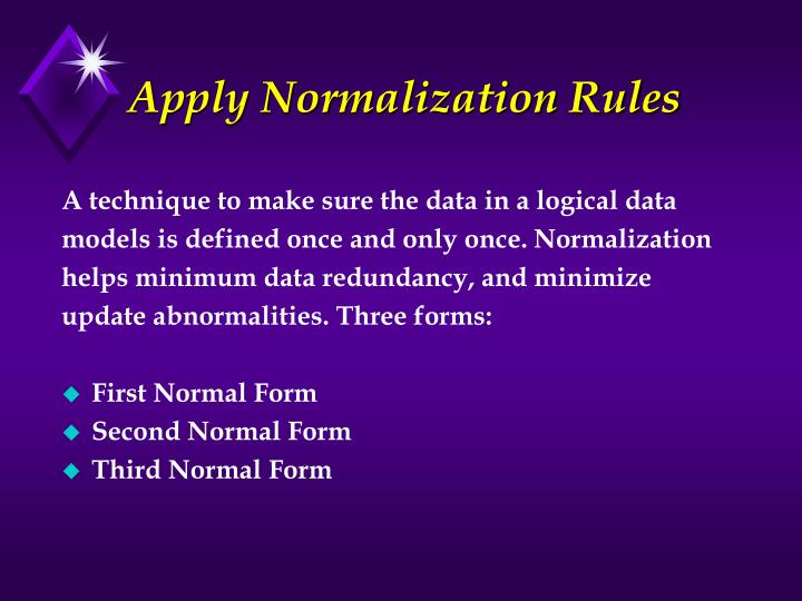 Apply Normalization Rules