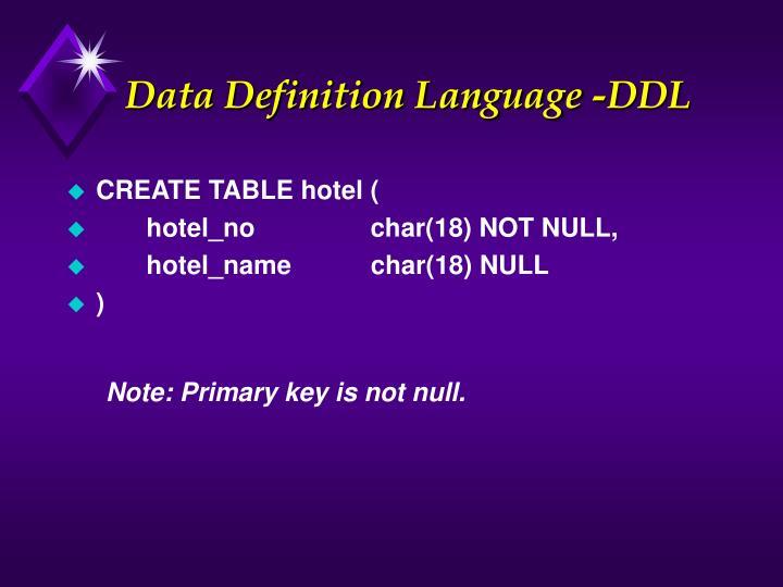 Data Definition Language -DDL