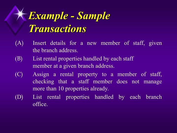 Example - Sample Transactions