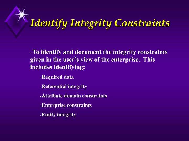 Identify Integrity Constraints