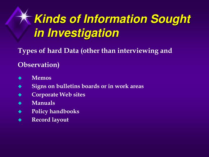 Kinds of Information Sought  in Investigation