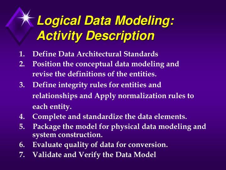 Logical Data Modeling: Activity Description