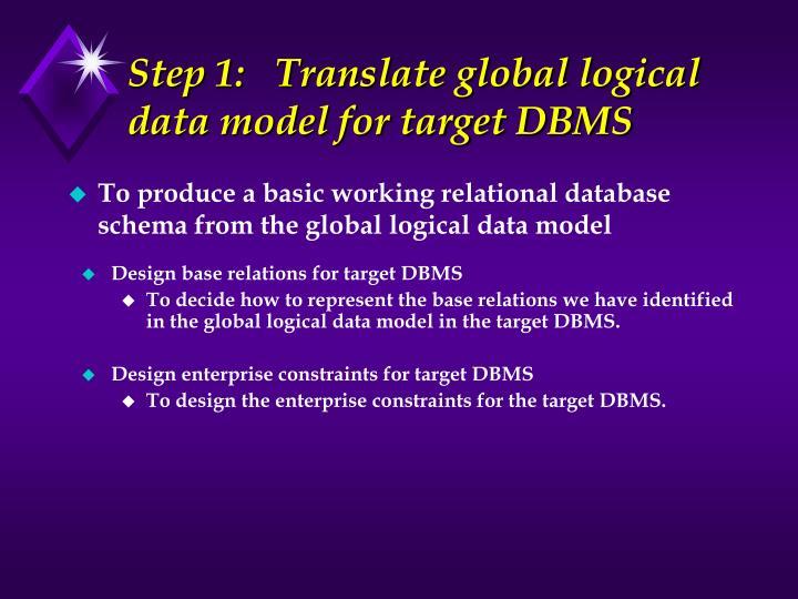 Step 1:   Translate global logical data model for target DBMS