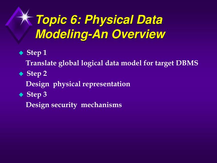 Topic 6: Physical Data Modeling-An Overview