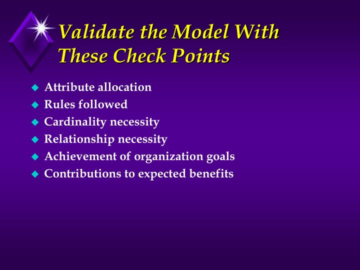 Validate the Model With These Check Points